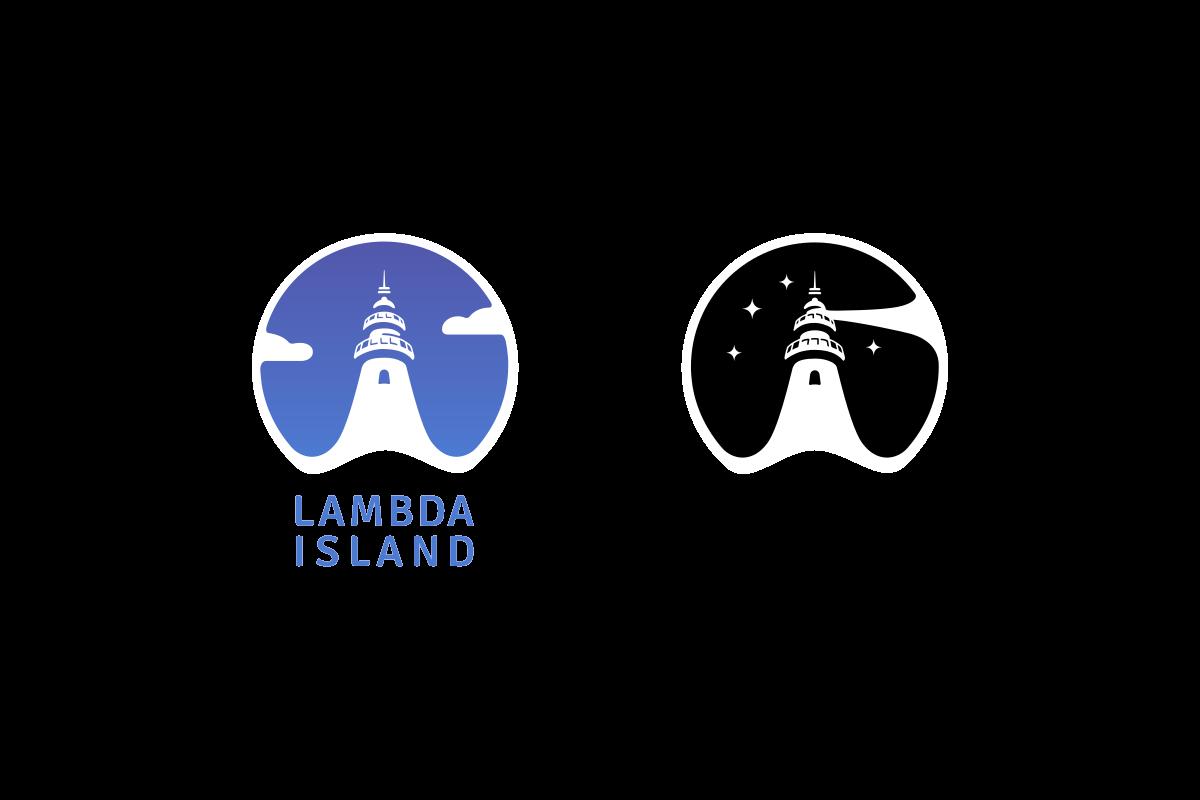 The Lambda Island logos, a lighthouse in a round design
